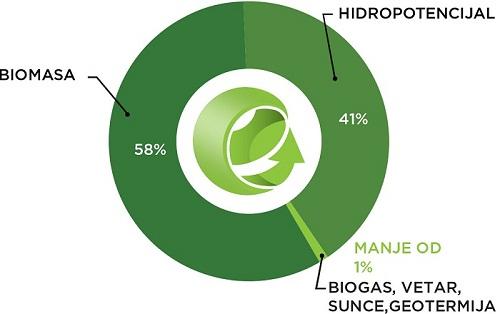 Statistika učešća OIE u domaćoj proizvodnji primarne energije (2013.)