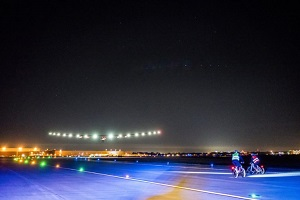 Tulsa, Oklahoma, USA, May 12th 2016: Solar Impulse successfully landed at Tulsa International Airport with Bertrand Piccard at the controls. Departed from Abu Dhabi on march 9th 2015, the Round-the-World Solar Flight will take 500 flight hours and cover 35'000 km. Swiss founders and pilots, Bertrand Piccard and André Borschberg hope to demonstrate how pioneering spirit, innovation and clean technologies can change the world. The duo will take turns flying Solar Impulse 2, changing at each stop and will fly over the Arabian Sea, to India, to Myanmar, to China, across the Pacific Ocean, to the United States, over the Atlantic Ocean to Southern Europe or Northern Africa before finishing the journey by returning to the initial departure point. Landings will be made every few days to switch pilots and organize public events for governments, schools and universities.